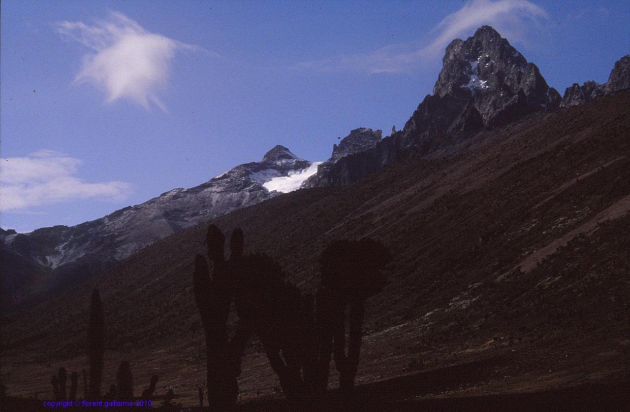 La Lenana Peak, 4985m, dominant la partie enneigée