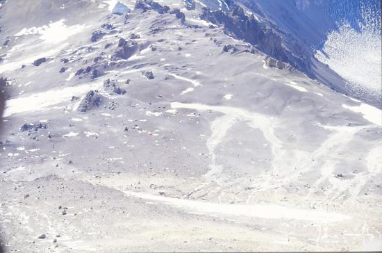 Vue sur le camp inférieur de Nido Del Condor